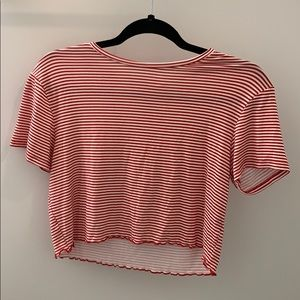 PacSun red and white striped crop top